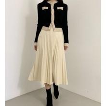 Hiver femme 2 pièces tricot costume femme pull décontracté jupe ensemble automne chaud tricot Cardigarn + jupe plissée ensemble costumes pour femme