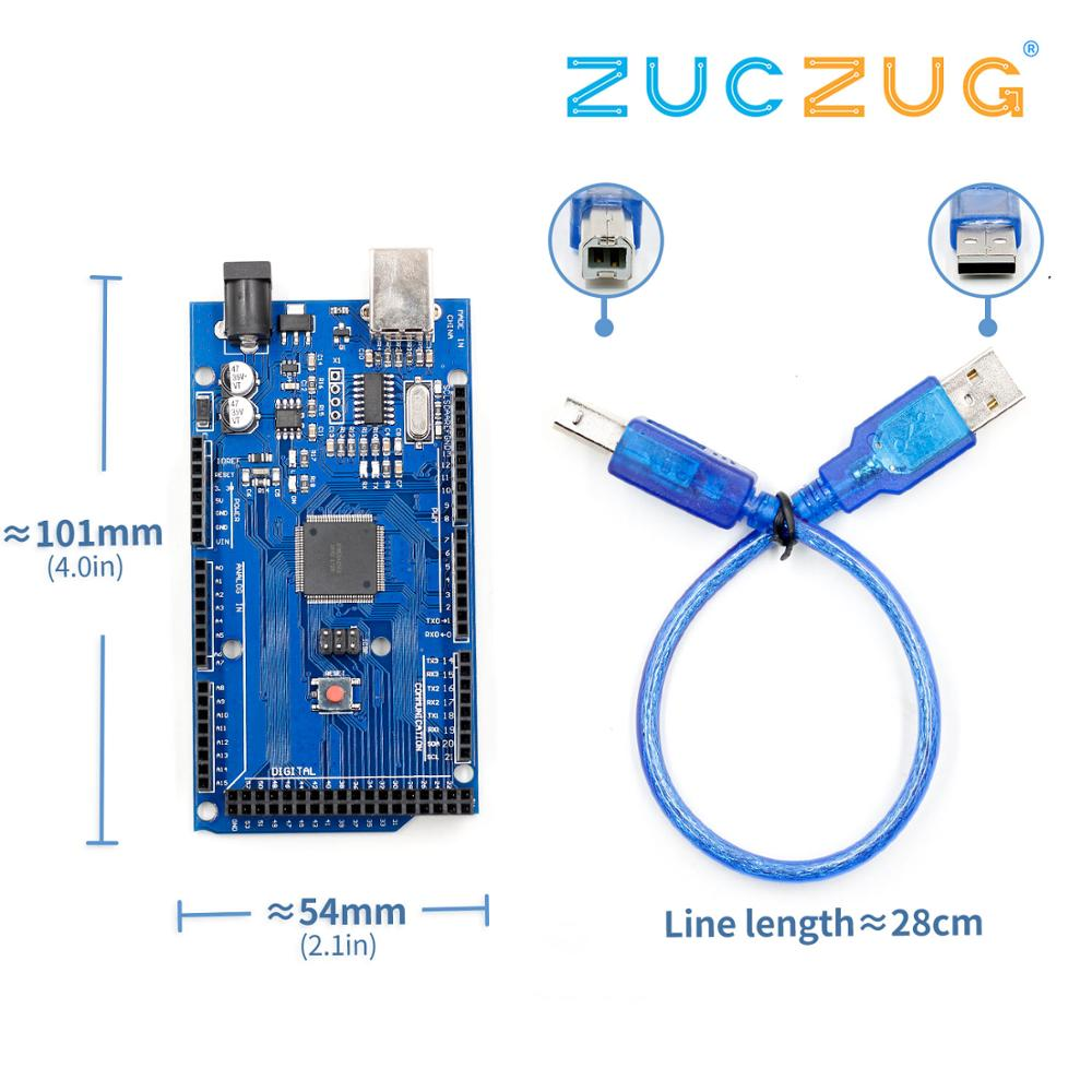 Placa de desarrollo USB MEGA2560 R3 MEGA 2560 R3 ATmega2560-16AU CH340G AVR para arduino