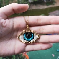 fairywoo turkish evil eye pendant necklace for women accessories jewelry gold chain necklace delica miyuki beaded necklaces gift