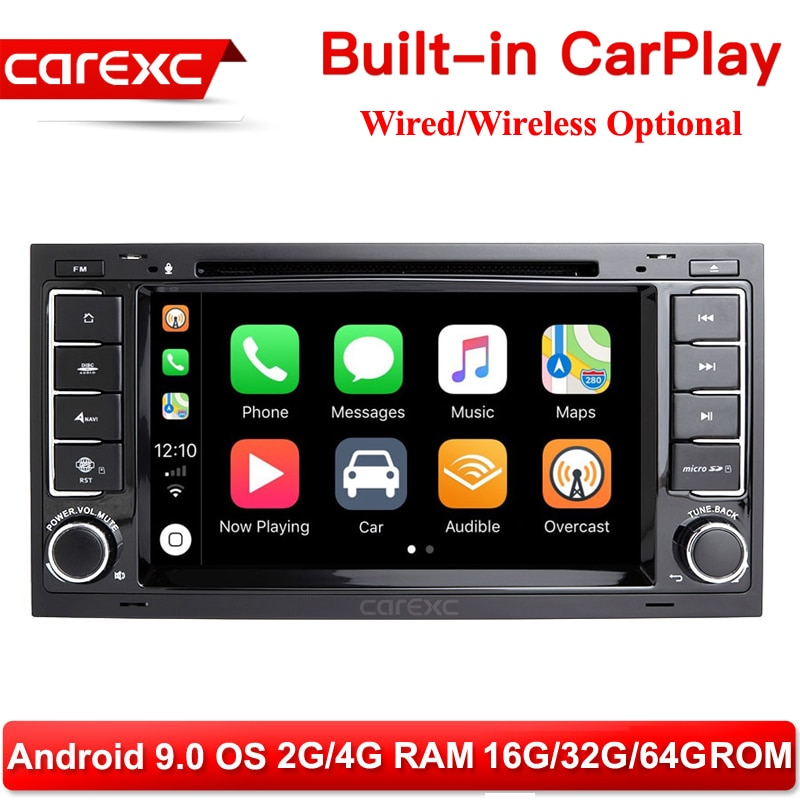 CarExc 2 DIN Android 9,0 Auto Radio para VW Volkswagen Touareg Volkswagen T5 transportador Multivan incorporado CarPlay con DVD GPS sistema de reproductor Muiltmedia para coche de navegación