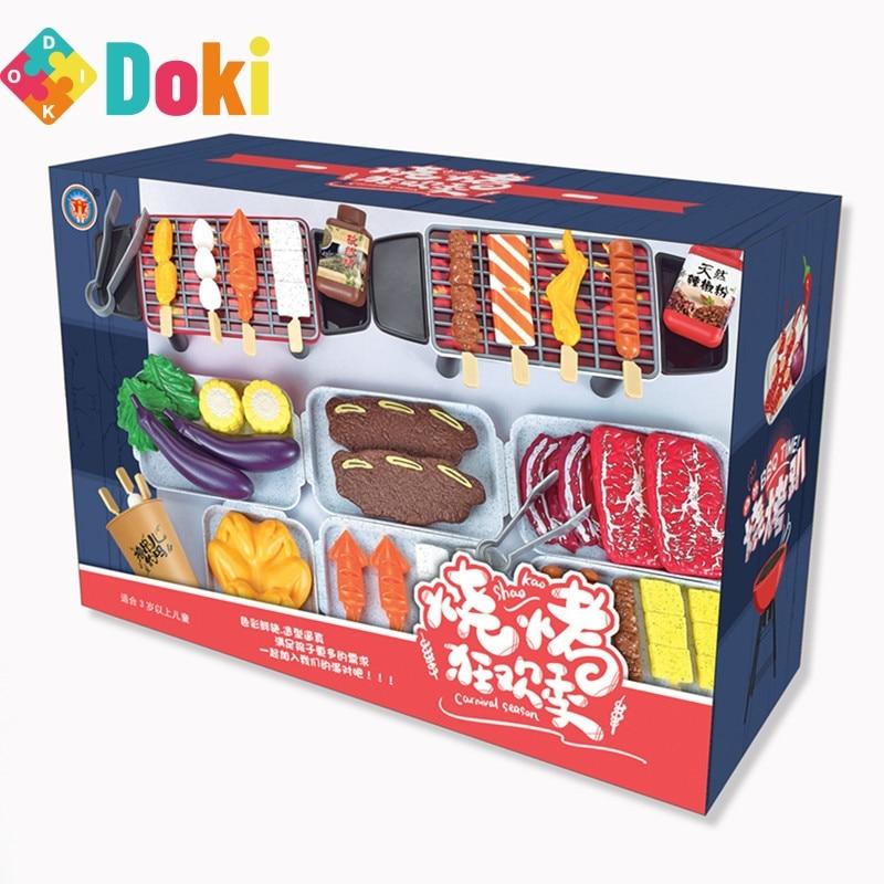 Игровой домик, гриль для барбекю, 80 шт., карбоновая печь, имитация еды, уличный гриль для барбекю, еда, детские игрушки, игрушка Doki, новинка 2021