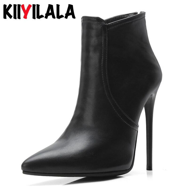 Kiiyilala Zíper 12 centímetros Pontas Do Dedo Do Pé Das Mulheres Botas De Salto Alto Sapatos de Mulher Outono Inverno Ladie Salto Fino Ankle Boots Para As Mulheres tamanho 34-48