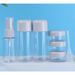 Travel Cosmetic Bottles Set 8pcs Refillable Bottles Spray Bottle Transparent Empty Bottle Mini Face Cream Pot Makeup Containers