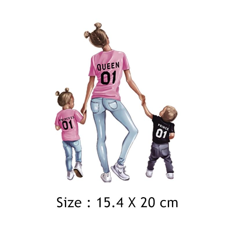 Parches de moda para mamá y bebé, parches de Reina para padres e hijos, pegatinas, apliques de hierro para transferencias de calor, parche para ropa diy para niñas, S4T-01
