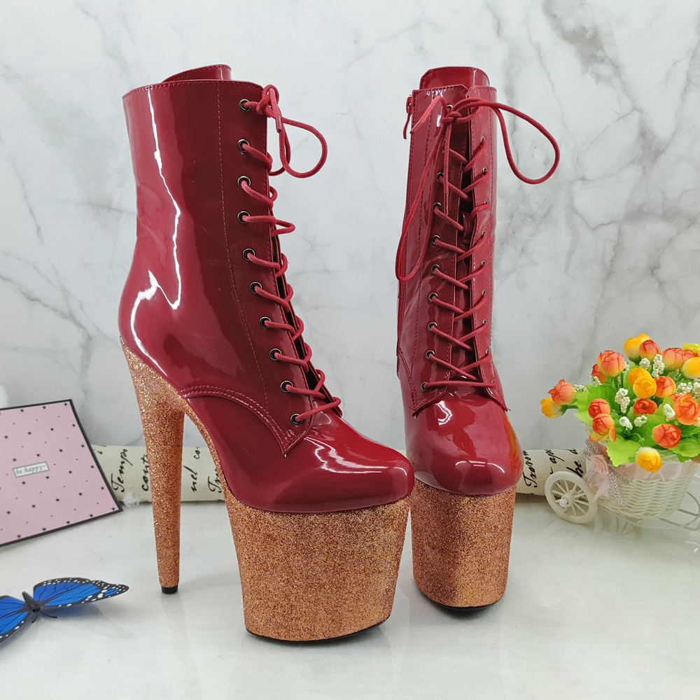 Leecabe RED Glitter 20CM/8inches Pole dancing shoes High Heel platform Boots closed toe Pole Dance booties