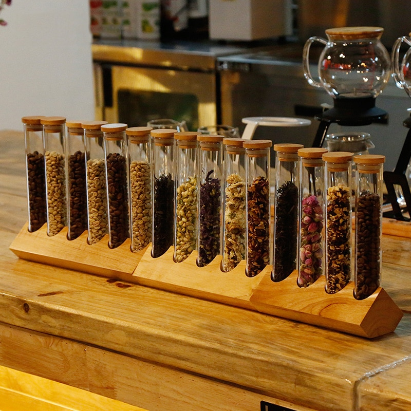 Купить с кэшбэком Wooden Coffee Beans Flower Tea Display Rack Stand Cereals canister Glass Test Tube With Cork Sealed Storage Decorative Ornaments