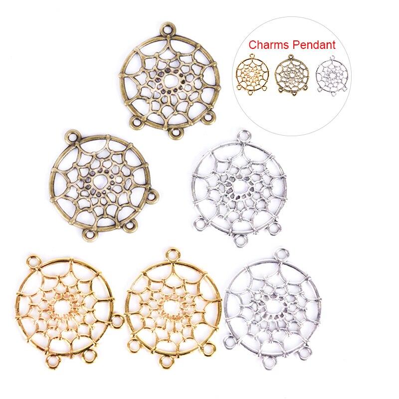 10/20 unids/set Vintage aleación atrapasueños encantos colgante joyería DIY hacer artesanía