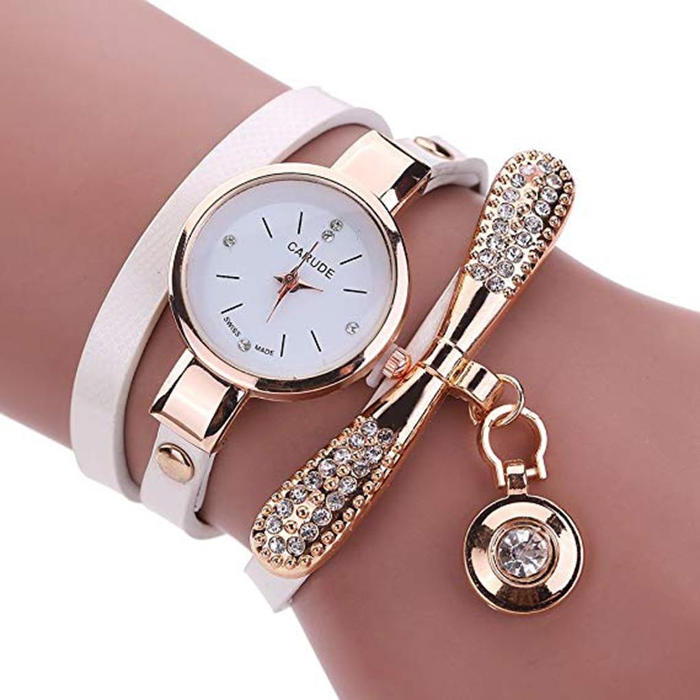 Women Girls Rhinestone Quartz Bracelet Wrist Watch Luxury Fashion Small Dial Multilayer Quartz Watch