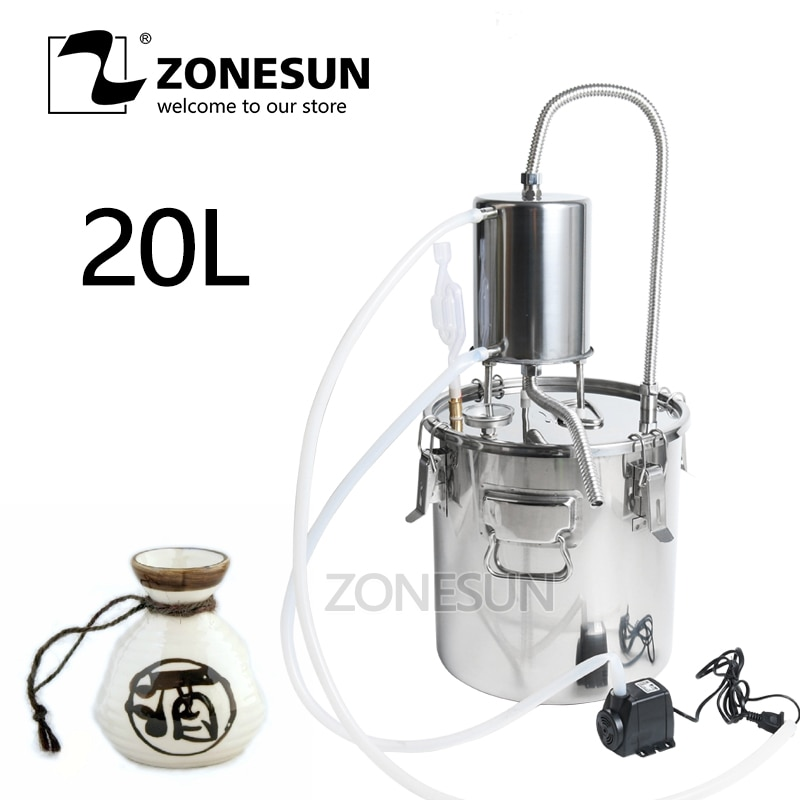 ZONESUN النبيذ البيرة الكحول المياه المقطر Moonshine مصغرة المنزل الورد المياه زيت طبيعي Alkol لتقوم بها بنفسك طقم تخمير معدات مصنع الجعة