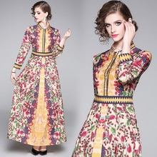 Flower runway Dress 2020 Spring Woman Long-sleeved maxi Patchwork High Waist out fit Party Maxi Long Dress