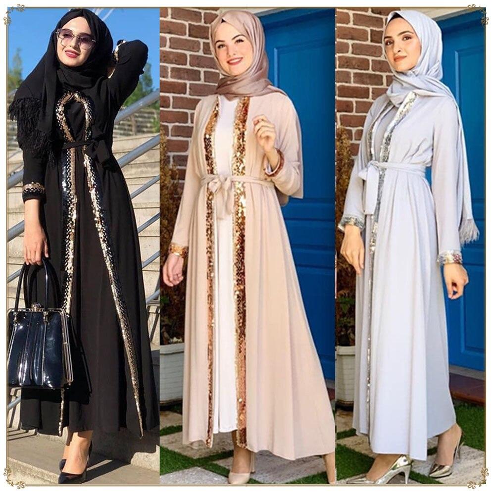 رمضان عباية ترتر كيمونو فستان طويل ماكسي للنساء المسلمات قفطان تركي جلباب دبي فستان حفلة إسلام ملابس الشرق الأوسط
