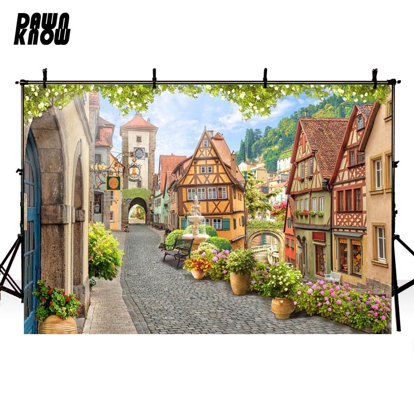 DAWNKNOW Building Vinyl Photography Background For Family Flower New Fabric Polyester Backdrop For Wedding Photo Studio G601