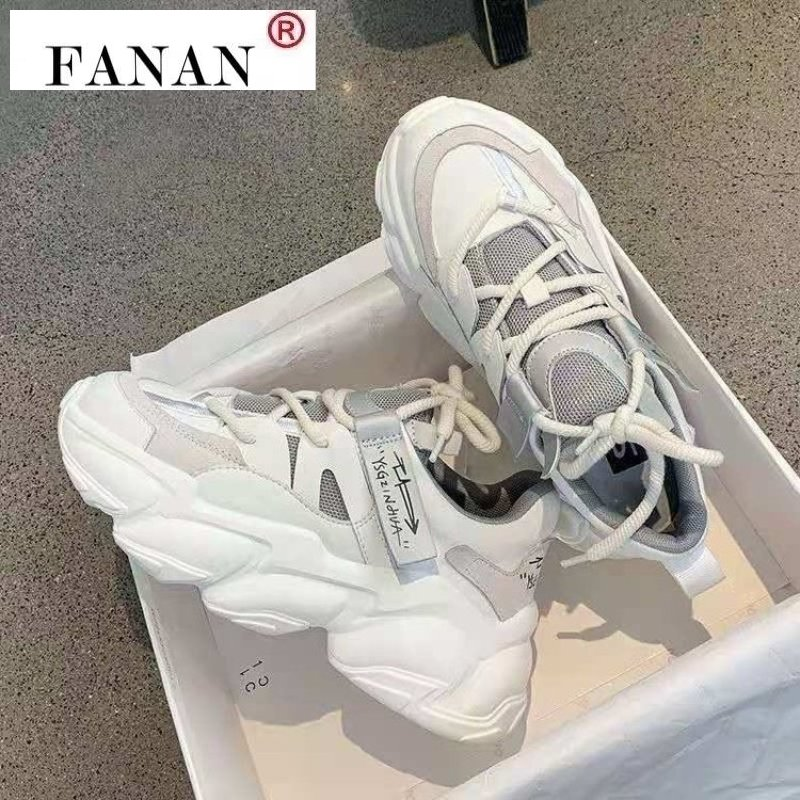 Comfy Breathable Mesh Trainers Chunky Heels 5cm Women's Platform Sneakers Women Shoes Casual Female White Mesh Shoes for Woman