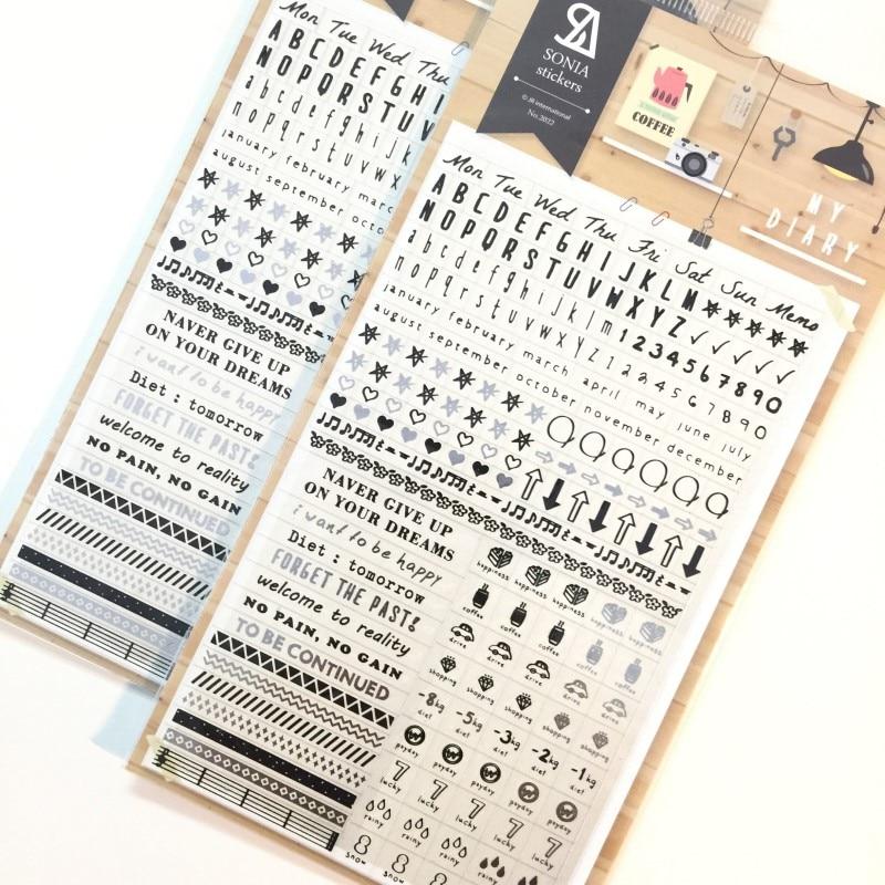 Sonia-autocollant clair lettre mots en PET   Étiquette scrapbooking, adhésif, paster, masquage, planificateur, décoration pour journal intime