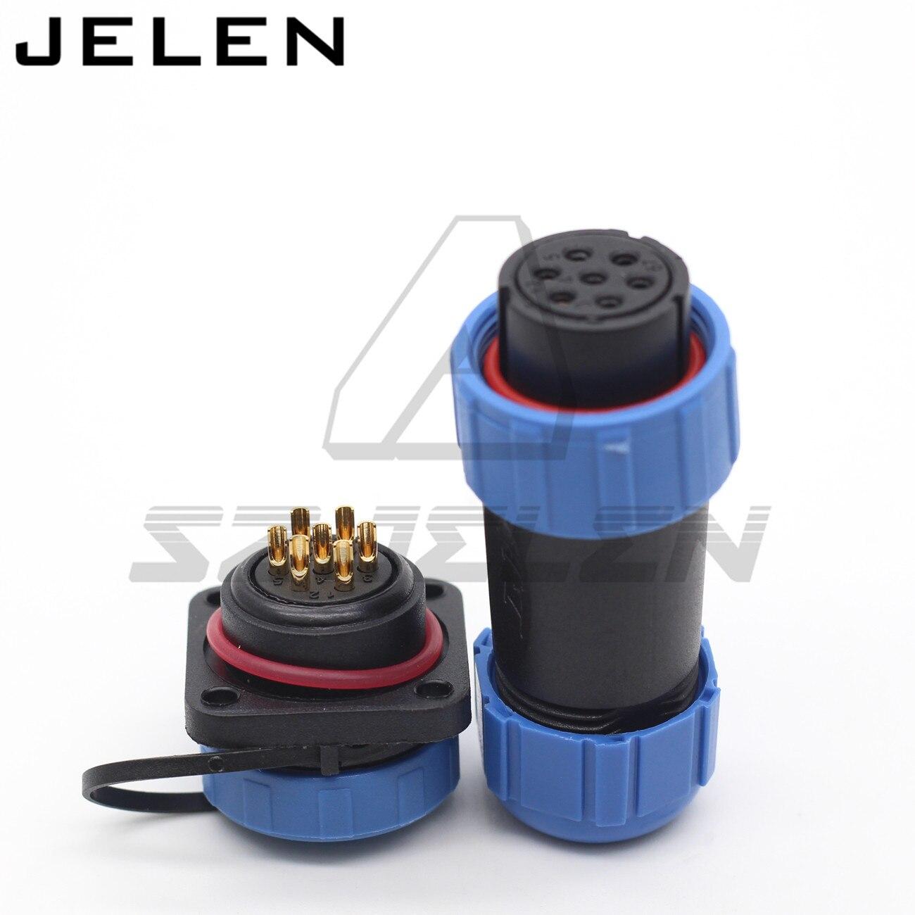 SP21 IP68 conector a prueba de agua enchufe hembra y enchufe macho 7 pin panel montaje cable conector