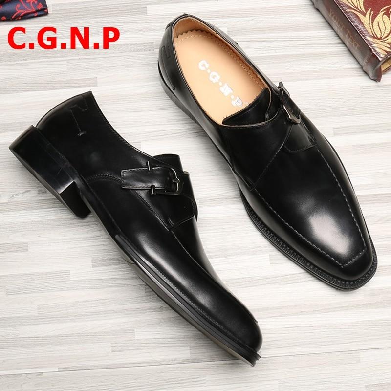 Купить с кэшбэком C.G.N.P Goodyear Square Toe Hand-Painted Formal Shoes Men Monk Strap Dress Shoes 100% Genuine Calf Leather Italian Shoes