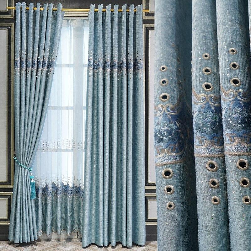 Estilo europeo de chenilla cortinas bordadas soluble en agua-hueco cortinas bordadas para...