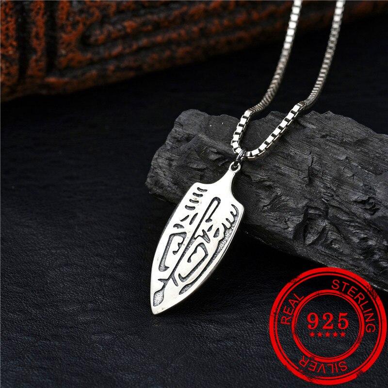Novo produto 100% genuíno 925 prata esterlina 925 colar antigo grego estilo retro prata pingente senhora colar moda jóias
