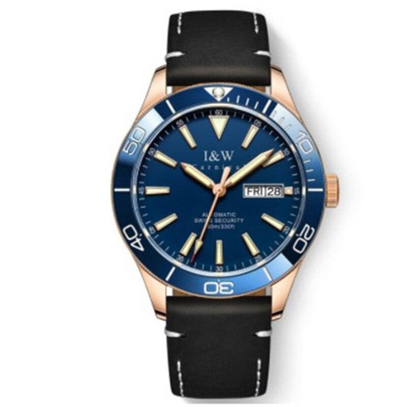 I & W-ساعة رجالية أوتوماتيكية من الياقوت ، ساعة يد ميكانيكية فاخرة من الفولاذ المقاوم للصدأ ، مقاومة للماء ، 534 متر ، Mekaniska klockor ، 100