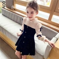 navy blue party dress for girls autumn bowknot long sleeve kids clothing classic kids dresses for girls 4 5 7 9 11 13 years old