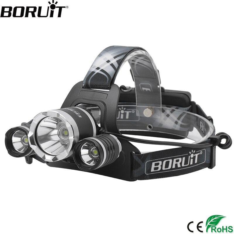 BORUiT RJ-3000plus XML-T6 LED Phare 4-Mode Phare Rechargeable 10000 lumen Lampe Frontale Étanche Camping Chasse Lampe De Poche