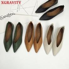 Xالجاذبية أعلى جودة الأمراء الشقق النساء حذاء مسطح خمر العميق الخامس تصميم سيدة أحذية أنيقة الأوروبية النساء الشقق A147