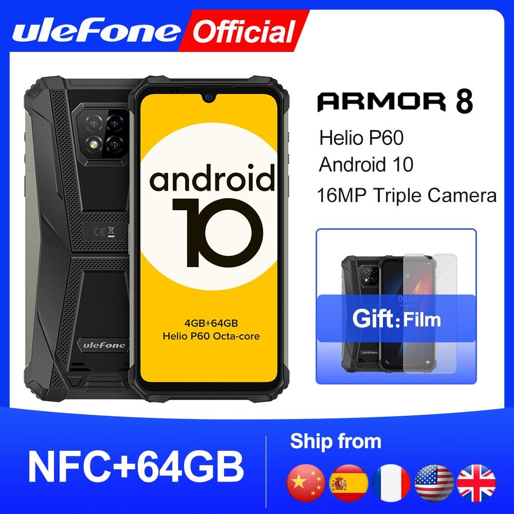Ulefone Armor 8 Rugged Mobile Phone NFC Android 10 Helio P60 4GB+64GB 16MP Triple Camera Octa-core 6.1'' Waterproof Smartphone
