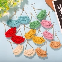 exquisite easy to match handmade braided scalloped dangle earrings for work cute