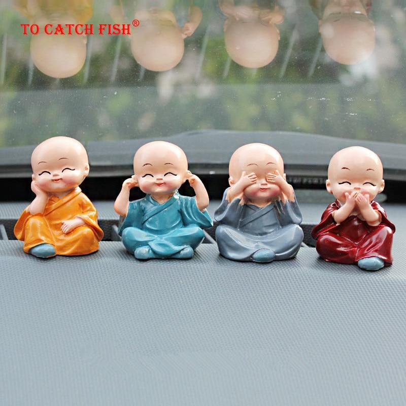 4 шт./компл., маленькие статуэтки монахов, украшение для автомобиля, домашний декор Kungfu, монахи, рисунок, украшение для автомобиля, аксессуары для мальчика Будды