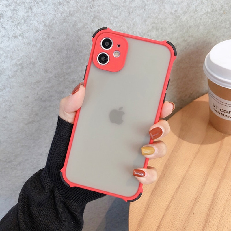 Camera Protection Phone Case for iPhone 11 12 Pro 11Pro Max X XR XS Max 8 7 Plus Matte Transparent Shockproof Bumper Cover Funda