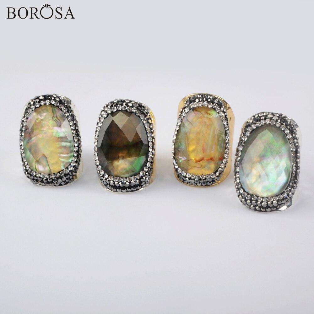 Anillos de concha Natural Color oro/plata anillo de la madre de la perla Zirconia cúbica anillo hecho a mano Diamante de imitación joyería Dropshipping