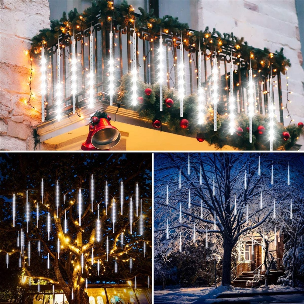 8tubes/Set 30/50cm LED Meteor Shower String Light Solar Outdoor Waterproof New Year Lamp for Christmas Wedding Party Fairy Decor