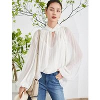 top women 100 silk shell two pieces set elegant design twist collar long flare sleeves shirt ladies casual t shirt new fashion