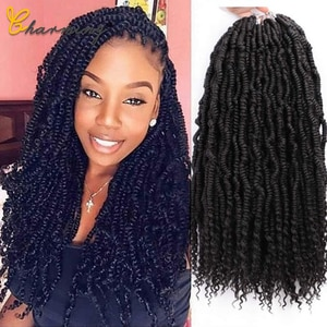 CHARMING 18Inch Passion Twist Hair Pre-Twisted Synthetic Braiding Hair Fluffy Spring Bomb Crochet Hair Extensions Black Women