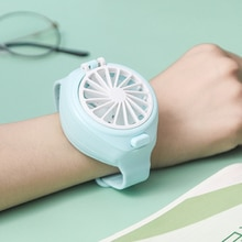 Mini Carry Soft Wrist Fan Watch Air Cooler with RGB Light USB Rechargeable 3 Speed Adjustable for St