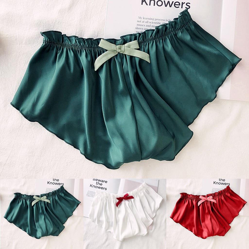 Silk Satin Sexy Solid Color Lace Pajamas Underwear Women Plus Size Sleeping Bottoms Panties Sleep We