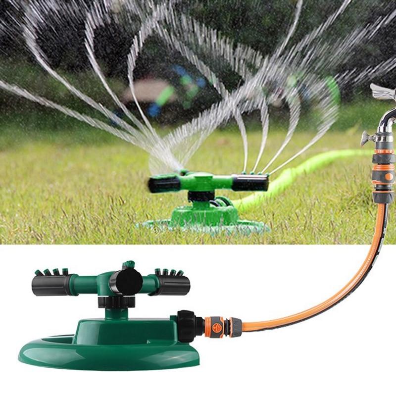 Práctico boquilla de plástico ABS + PP Tridente flores rociador equipo de riego rociador de agua verde rotado 360 ° herramientas