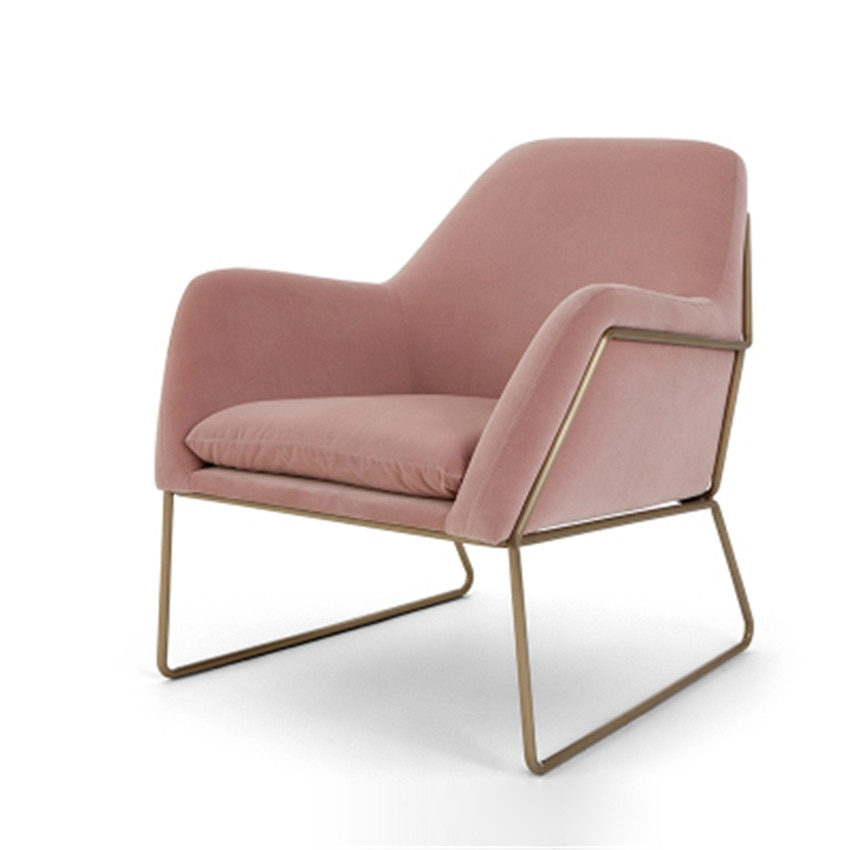 الموضة الحديثة كرسي أريكة فردي مسند ذراع الشمال الحد الأدنى أريكة لغرفة المعيشة كرسي Flannelette لينة وسادة مقعد إطار معدني الحديد