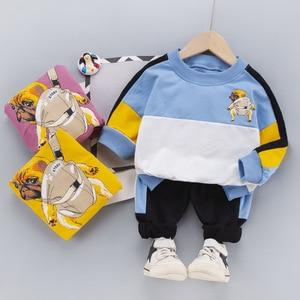 Children's Clothing Sets  Korean Cartoon Back Print Bulldog Children's Suit Round Neck Long-sleeve Fashion Boys and Girls Suit