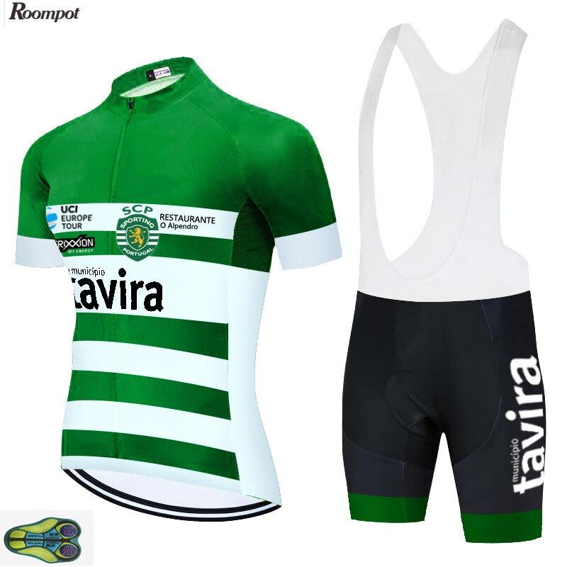 ¡Novedad de 2020! Camiseta de Ciclismo profesional para equipo de TAVIRA Green, pantalones cortos, traje 20D de Gel, Ropa de Ciclismo de verano para hombre, Ropa de Ciclismo de secado rápido