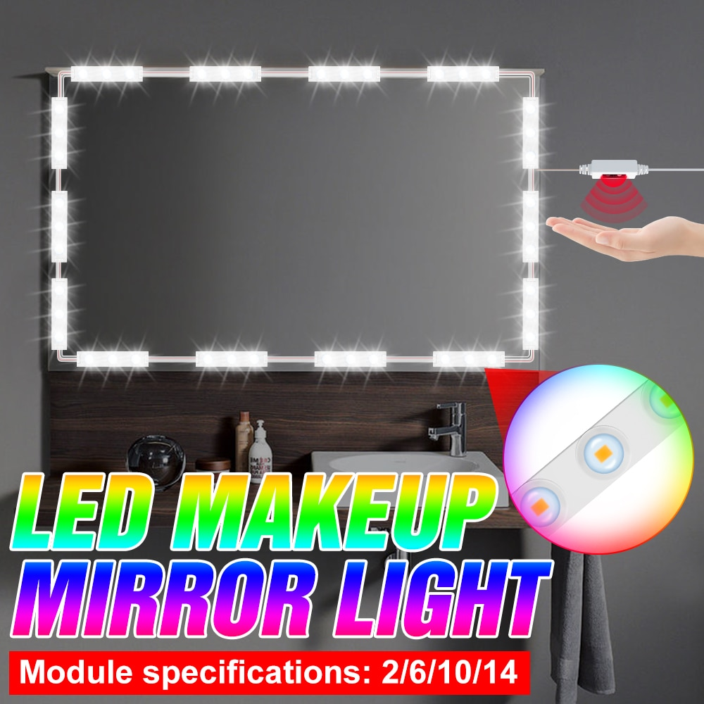 Hollywood 5V Hand Sweep Dimmable Makeup Mirror Light LED Cosmetic Lamp Dressing Table Light USB 2 6 10 14 Modules Kit Wall Lamp