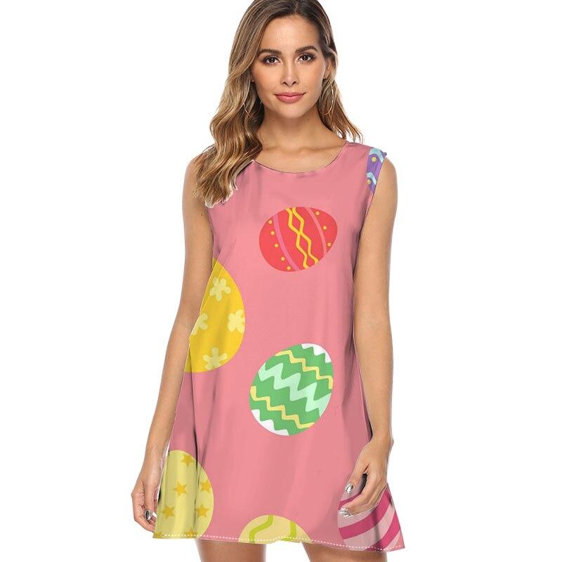 Bunte ostern ei harajuku Druck Sommer Kleid Frauen Mode Chiffon Sommer Kleid 2019 Nette Mini Strand Kleid