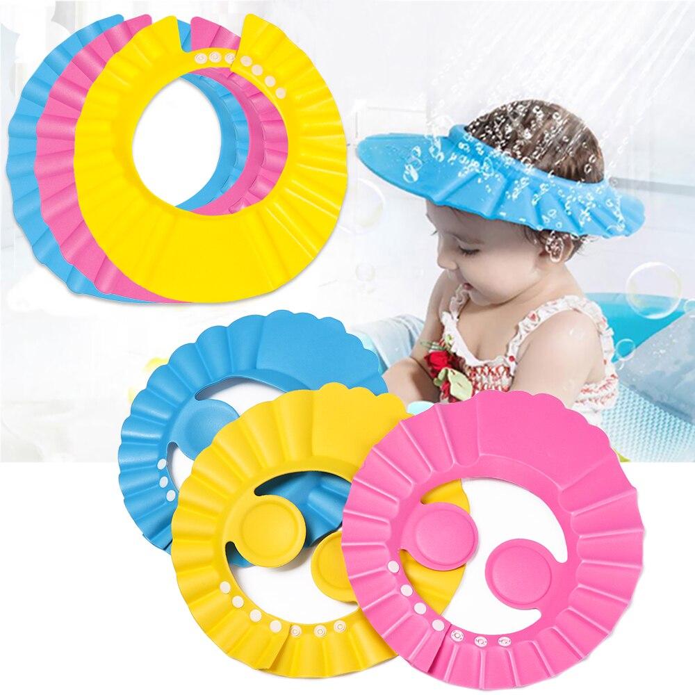 1pc ajustável tampões de chuveiro do bebê portátil à prova dportable água confortável crianças proteção para os olhos lavagem cabelo banho viseira escudo shampoo chapéu