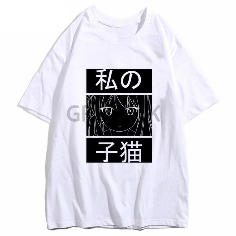 Neko blanco camiseta Casual de hombre Anime la mascota chica de camisetas de Sakurasou Shiina Mashiro niñas Camiseta de manga corta camisas