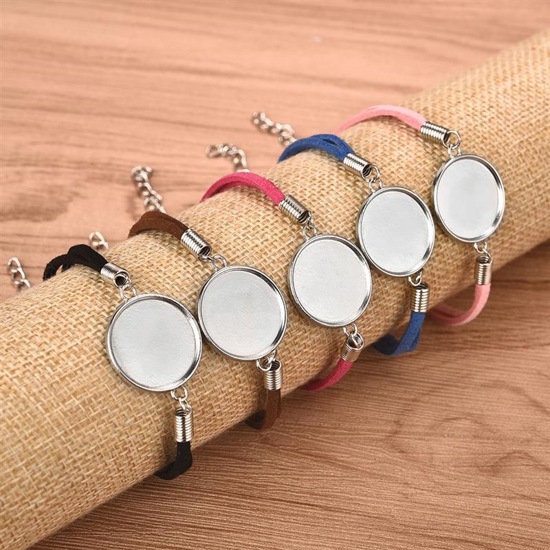 20 stücke 20mm Leder Armband Basis Silber Überzogene Diy Rohlinge Tray Lünette Einstellung Runde Cabochon Cameo Für Armband Schmuck kennzeichnung