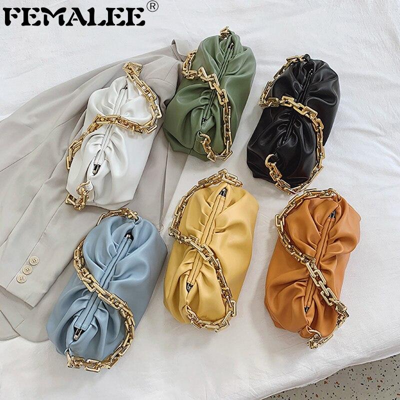 Luxury Women's Bag Coarse Chain Ruched Cloud Handbags Pure Color Hobos Shoulder Bags Sac Designer PU Leather Underarm Tote Purse
