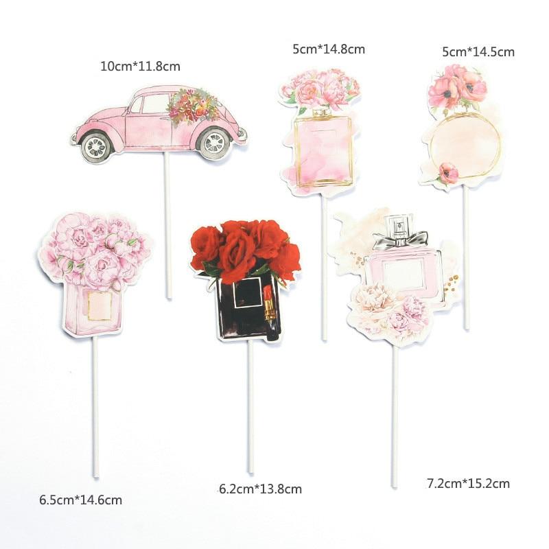 1 Set Perfume Flower Fashion Lady Theme Happy Birthday Cake Topper Romantic Wedding Cake Decoration Party Supplies