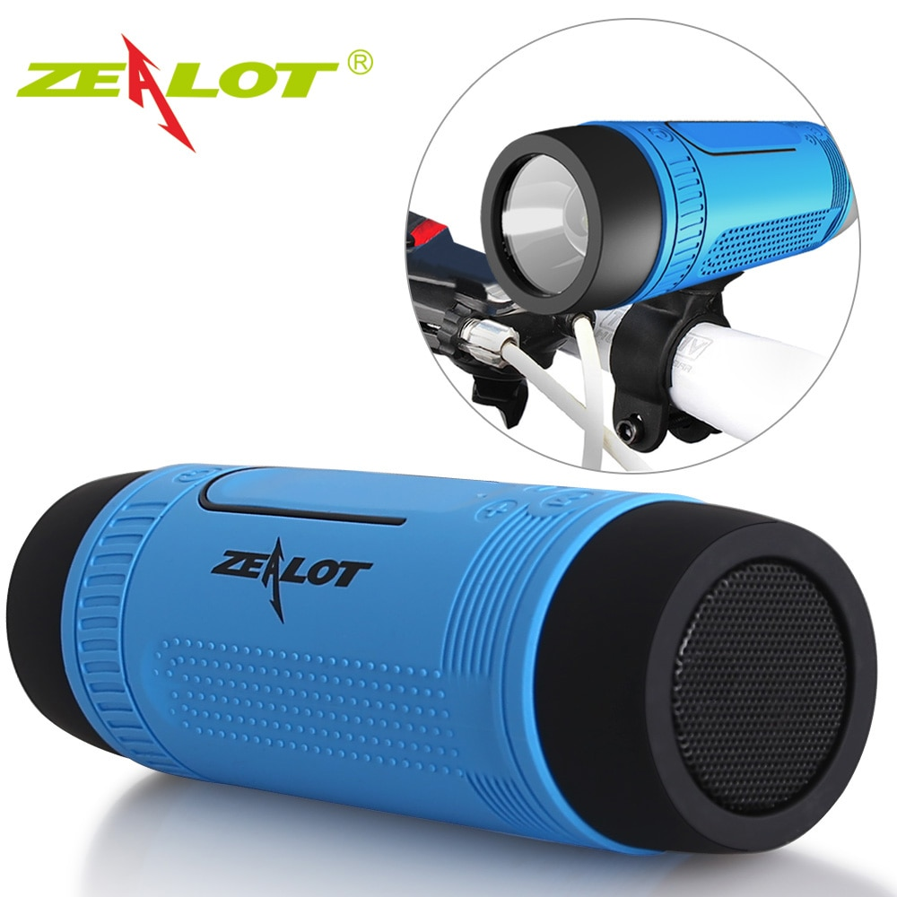 Zealot S1 سمّاعات بلوتوث مكبر صوت لاسلكي بالبلوتوث مضخم صوت محمول باس لاسلكي عمود راديو FM باور بانك + مصباح يدوي + دراجة جبل