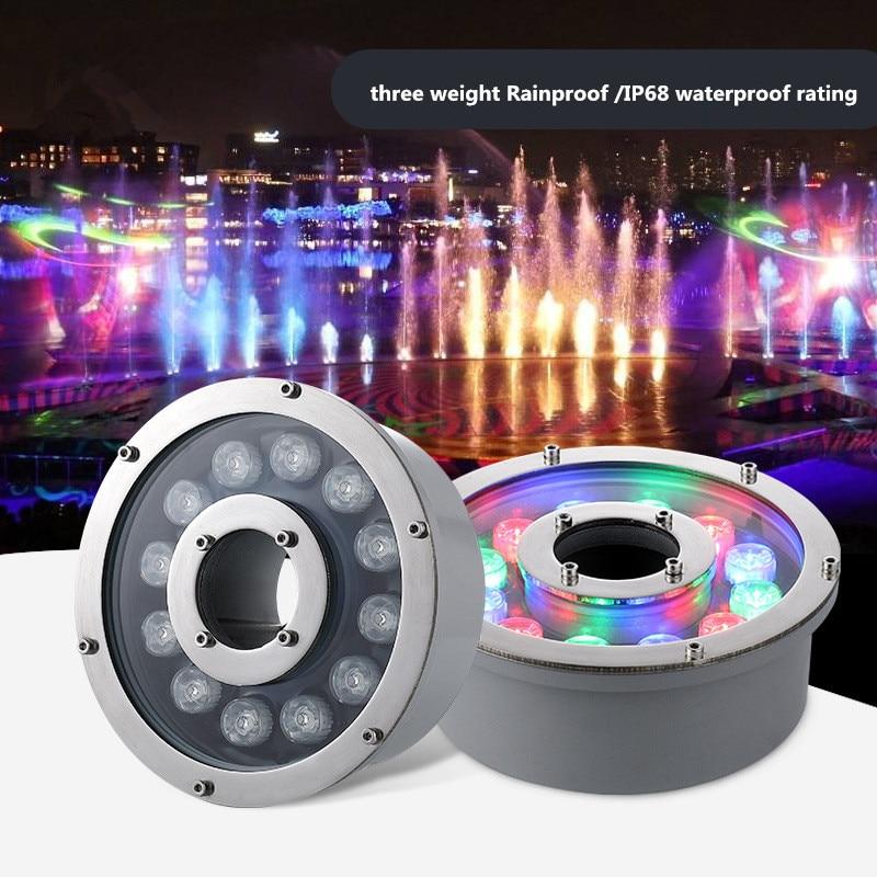 Led fountain light 6w 12w 18w Pool Light Free AC/DC 12V 24V Underwater Lights Fountains Waterproof Ip68 RGB Garden Pond Lamp