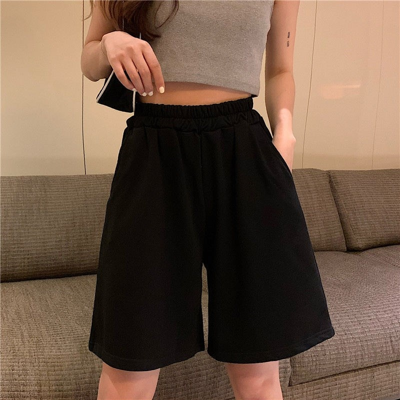 2021 Lovely Girls Summer Fashion Solid Colour Shorts Women Harajuku Elasticity Loose Chic Wide-leg Casual Simple All-match Style